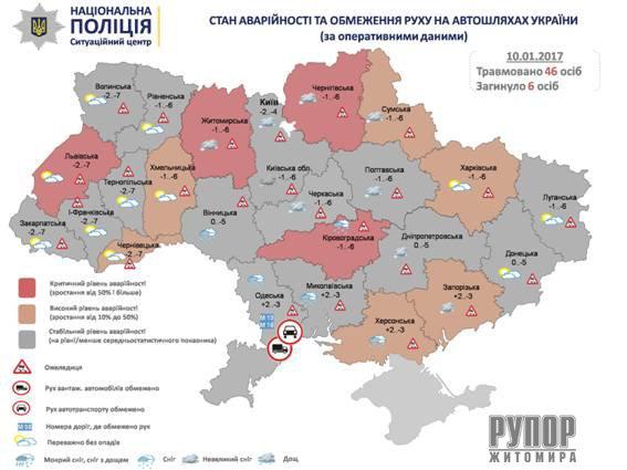 В Житомирській області - залишається критичною за рівнем аварійності ситуація