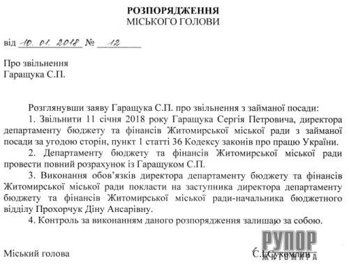 Мер Житомира звільнив Сергія Гаращука