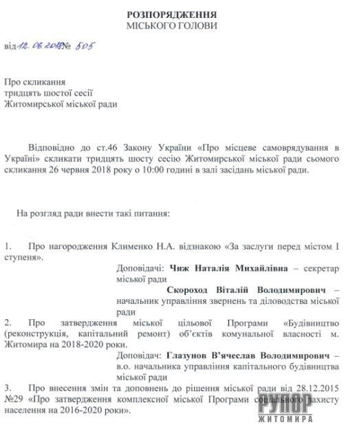 Мер Житомира скликає чергову сесію міської ради. Перелік питань