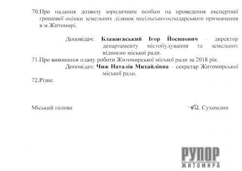 17 вересня — сесія Житомирської міської ради