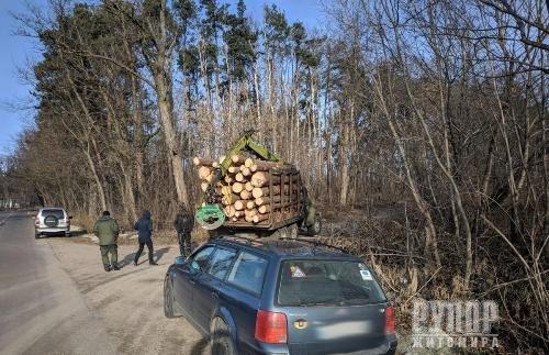 Під Житомиром затримали вантажівку з краденим лісом