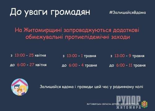 До уваги жителів Житомирщини! До 27 квітня в області діятимуть додаткові обмежувальні протиепідемічні заходи