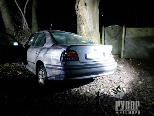 На Житомирщині BMW злетів у кювет, врізався у дерево та перекинувся на бік